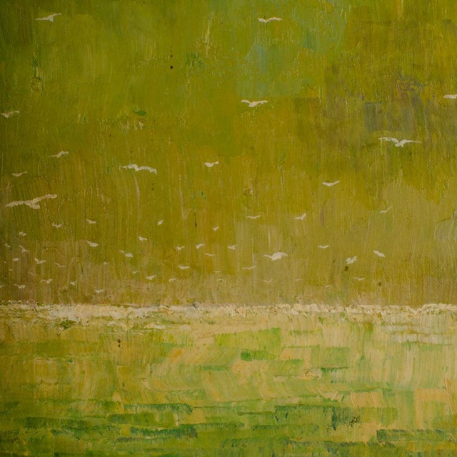 """1960s """"Flock of Seagulls"""" Abstract Oil Painting, Framed For Sale - Image 9 of 12"""