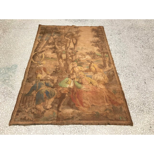 Beige Antique Gobelin Wall Art Tapestry For Sale - Image 8 of 8