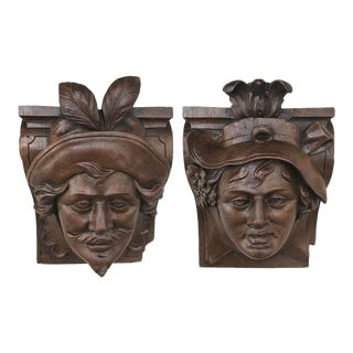 Pair 19th Century Renaissance Wall Sconces ~ Corbels For Sale