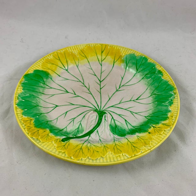 Mid 19th Century Josiah Wedgwood Pearlware Hand Enameled Cabbage Leaf Plates, Dated 1860, Set / 6 For Sale - Image 5 of 13