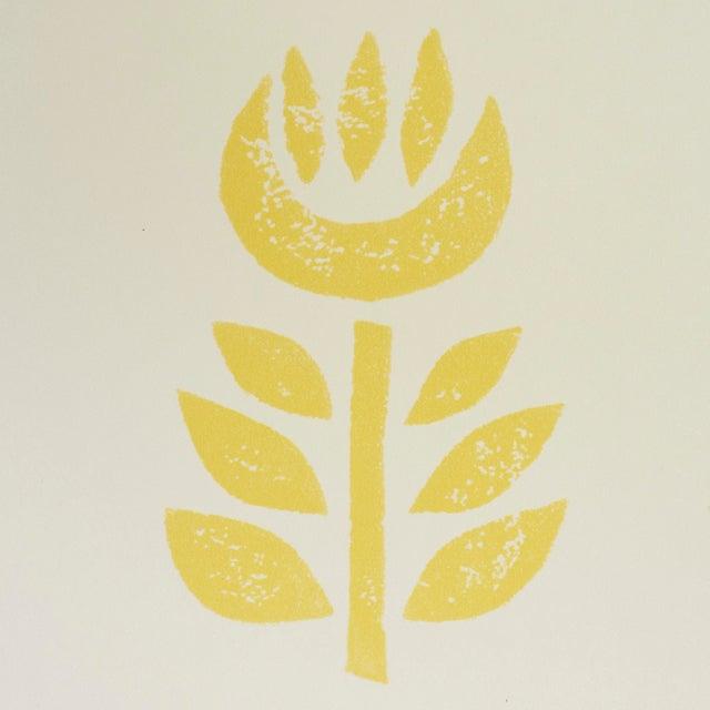 Mid-Century Modern Sample - Schumacher Rosenborg Wallpaper in Yellow For Sale - Image 3 of 5