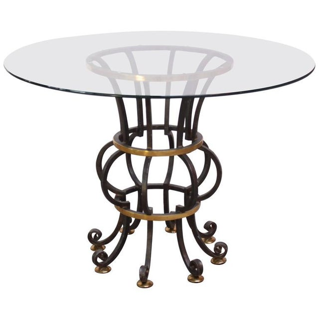 Hollywood Regency Style Brass and Steel Center Table after Maitland-Smith - Image 3 of 9