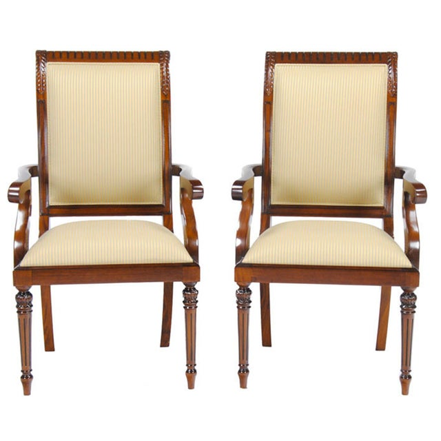 Brown Tall Back Upholstered Arm Chairs - Pair For Sale - Image 8 of 8