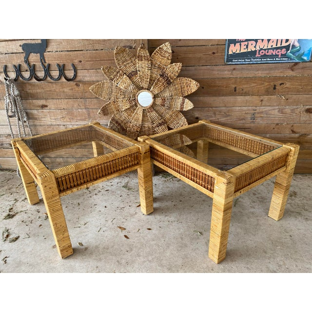 Vintage Wicker Wrapped Bamboo Insert Side Tables - a Pair For Sale - Image 12 of 13