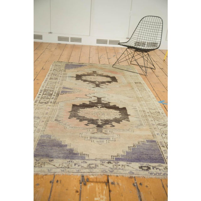 "Vintage Distressed Oushak Rug Runner - 3'7"" x 8' - Image 10 of 10"