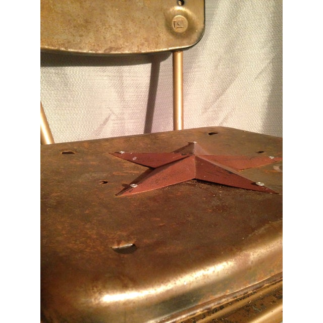 Metal Rustic Primitive Country Kitchen Metal Star Step Stool For Sale - Image 7 of 7
