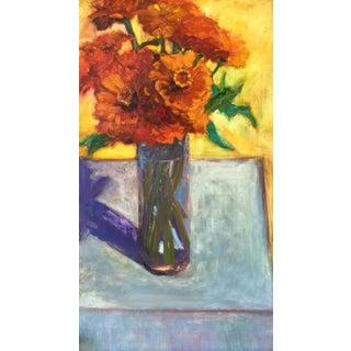 Original Orange Zinnias Oil Painting For Sale