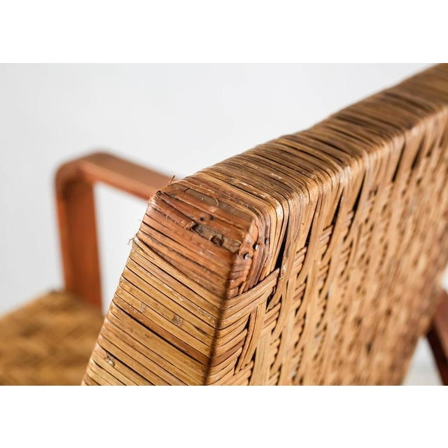 French Modernist Teak and Cane Lounge Chair, 1930s - Image 8 of 10