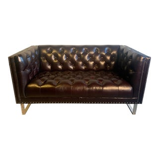 Modern Lazzaro Leather Loveseat For Sale
