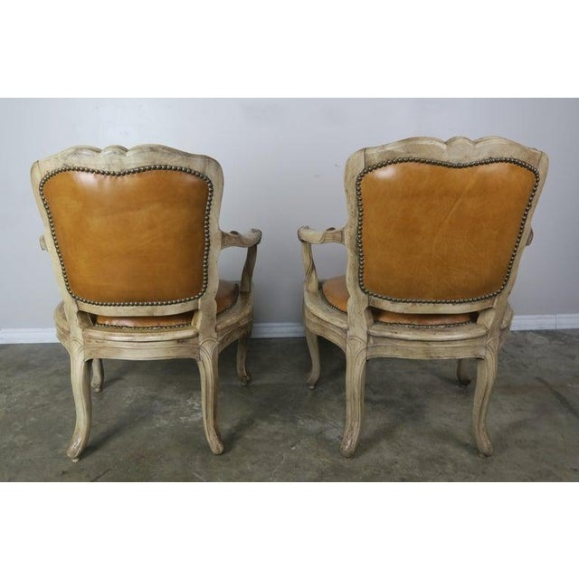 Brass Pair of French Louis XV Style Carved Bleached Walnut and Leather Armchairs For Sale - Image 8 of 9