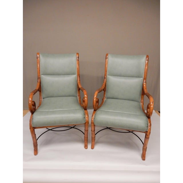 Green 1950's Bamboo Arm Chairs by Maison Jansen - a Pair For Sale - Image 8 of 8