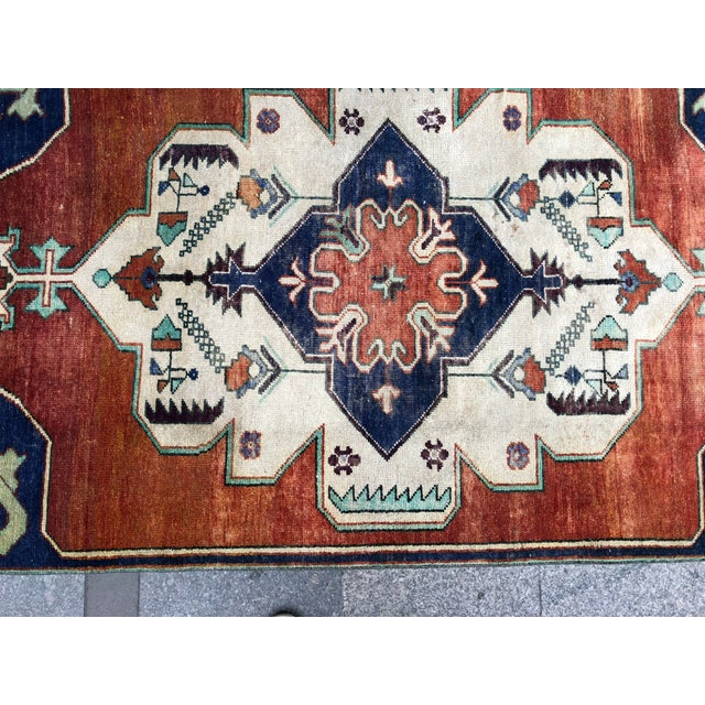 Orange 1960s Vintage Turkish Oushak Floral Rug - 3′10″ × 8′3″ For Sale - Image 8 of 11