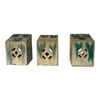 Antique Chinese Ceramic Headrests, 19th Century, Set of Three For Sale