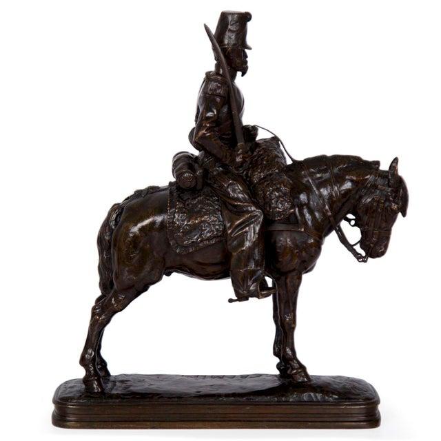 Realism Antique French Bronze Sculpture of a Soldier on Horseback by Emmanuel Fremiet For Sale - Image 3 of 13