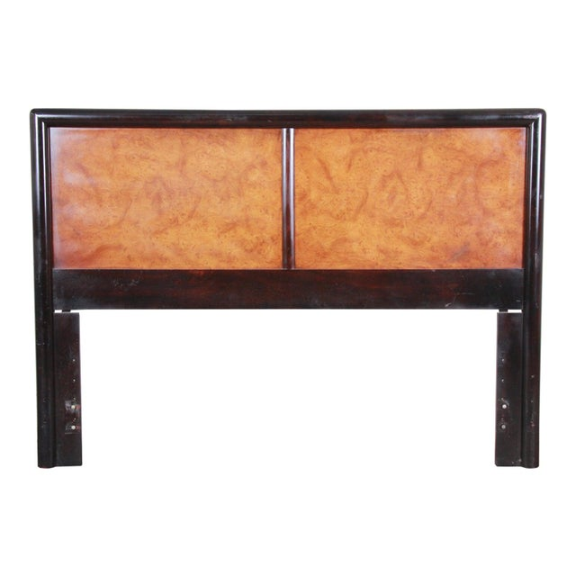 Wood Edward Wormley for Dunbar Burl Wood and Mahogany Queen Size Headboard, 1960s For Sale - Image 7 of 7
