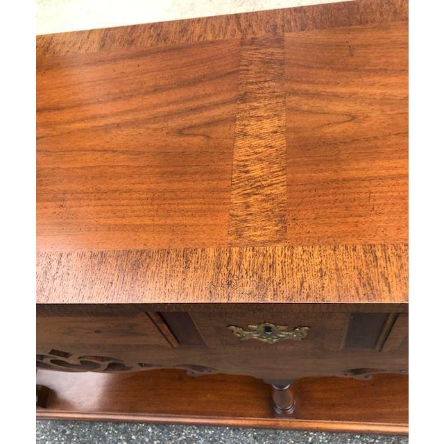 Baker English Style Inlaid Console Table For Sale - Image 9 of 10