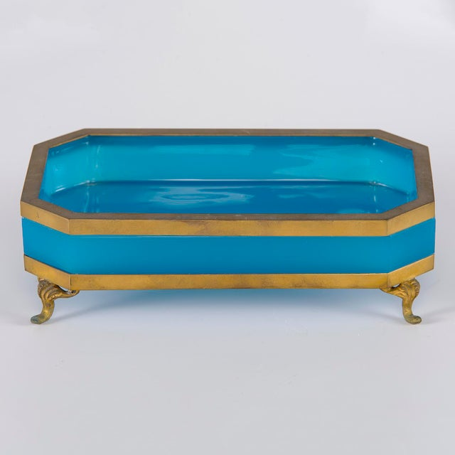 French Footed Blue Opaline Glass and Brass Dish For Sale - Image 13 of 13