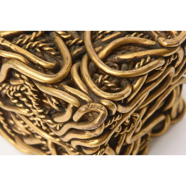 Pair of Signed Yasca Bronze Twisted Square Cube Sculptures For Sale - Image 9 of 11