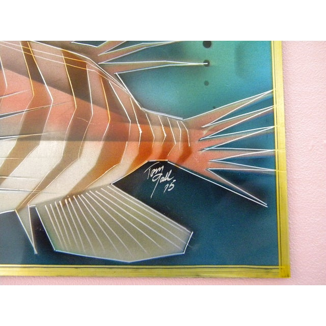 Turquoise 1975 Lion Fish Aluminum Etched and Airbrushed Painting by Tom Gall For Sale - Image 8 of 9