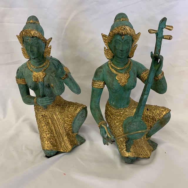 Bronze Thai Musicians Statues - a Pair For Sale - Image 11 of 11