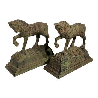 Vintage Horse Cast Metal Bookends - a Pair For Sale