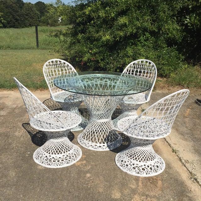 Boho Chic Mid Century Russell Woodard Spun Fiberglass White Outdoor Dining Set For Sale - Image 3 of 8
