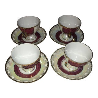 Vintage Fine Porcelain Mugs & Saucers - Set of 4