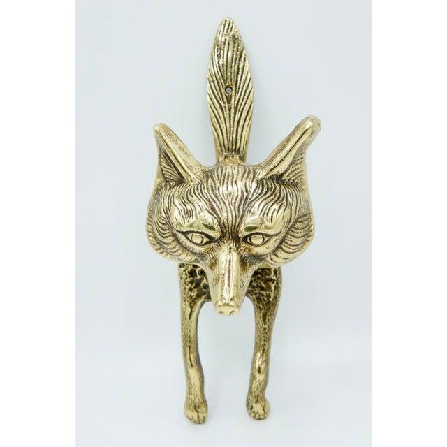 Metal Vintage Brass Fox Door Knocker For Sale - Image 7 of 9