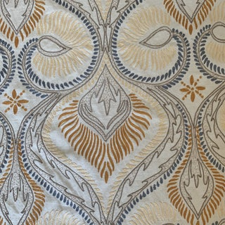 Designer Blue and Gold Art Nouveau Style Embroidered Linen Fabric- 1 1/4 Yards For Sale