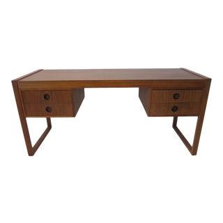 Danish Teak Double Pedestal Desk For Sale