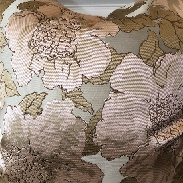 Custom Silk Floral Pillows - A Pair - Image 2 of 5