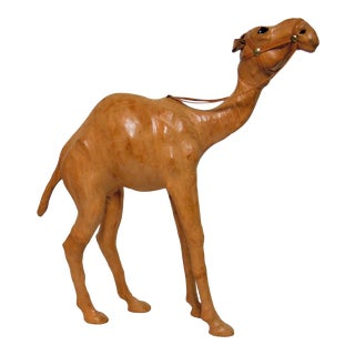 Mid-Century Leather Covered Camel For Sale