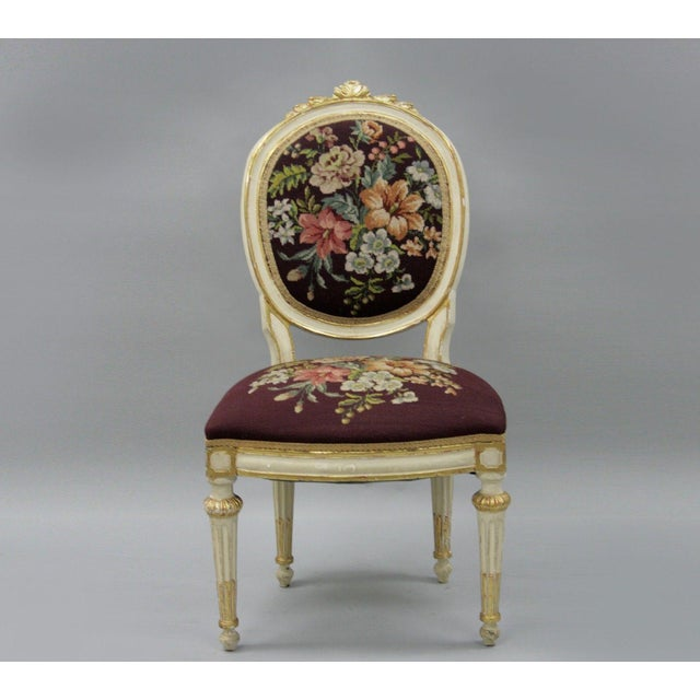 Antique French Louis XVI Style Carved Floral Needlepoint