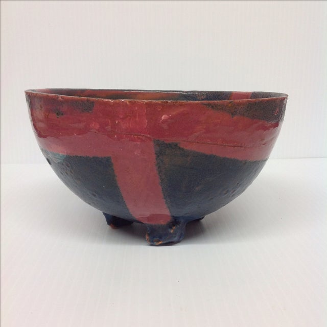 Abstract Studio Pottery Red & Blue Footed Bowl - Image 3 of 5