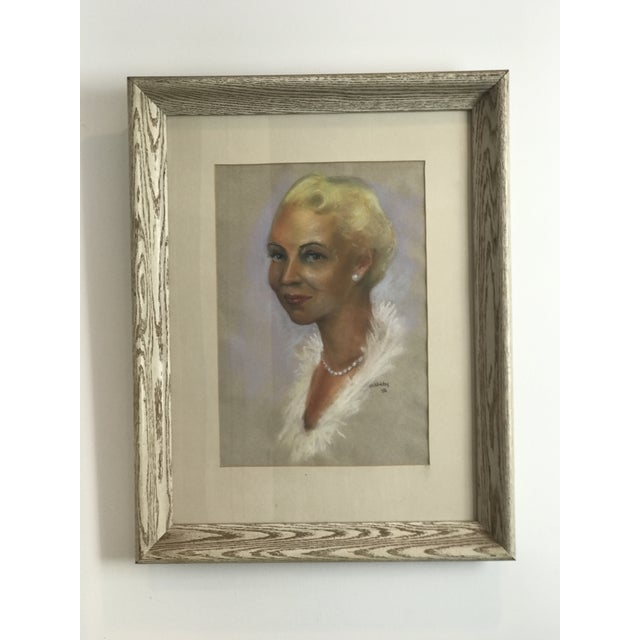 Mid-Century Modern Mid-Century Portrait of Woman Wearing Pearls, Signed 1956 For Sale - Image 3 of 8