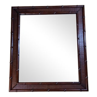 1970s Solid Wood Carved Faux Bamboo Mirror For Sale