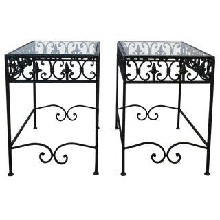 20th Century Italian Black Metal and Glass Outdoor Patio End Tables - a Pair For Sale