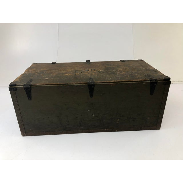 Vintage Military Green Wood Foot Locker Trunk For Sale - Image 9 of 12
