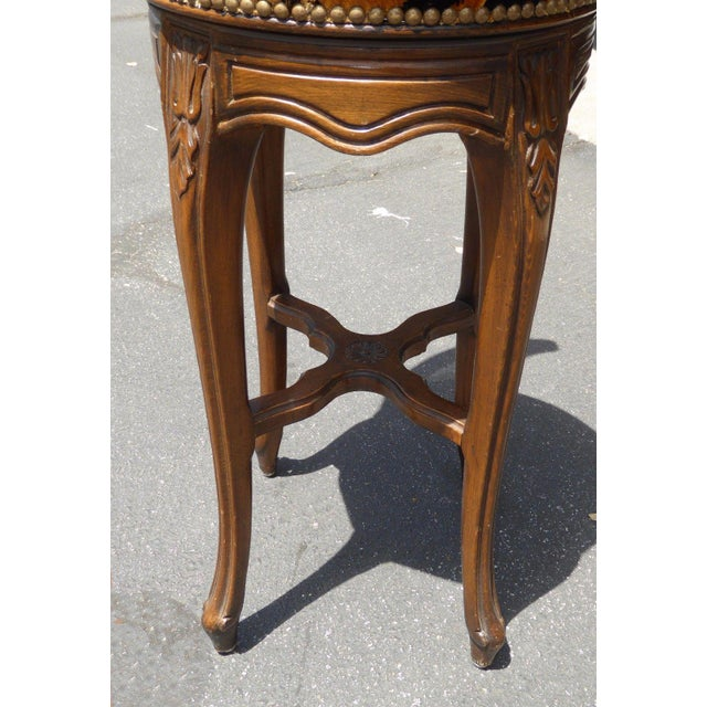 Vintage French Country Wood & Cane Barstools - Set of 3 - Image 9 of 11