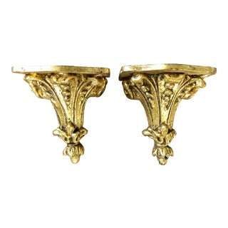 Petite Florentine Carved Wood Brackets- a Pair For Sale