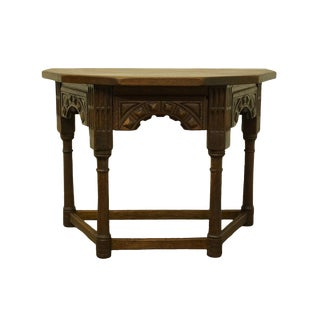 "1920's Gothic Oak Jacobean 33"" Accent Console Table For Sale"