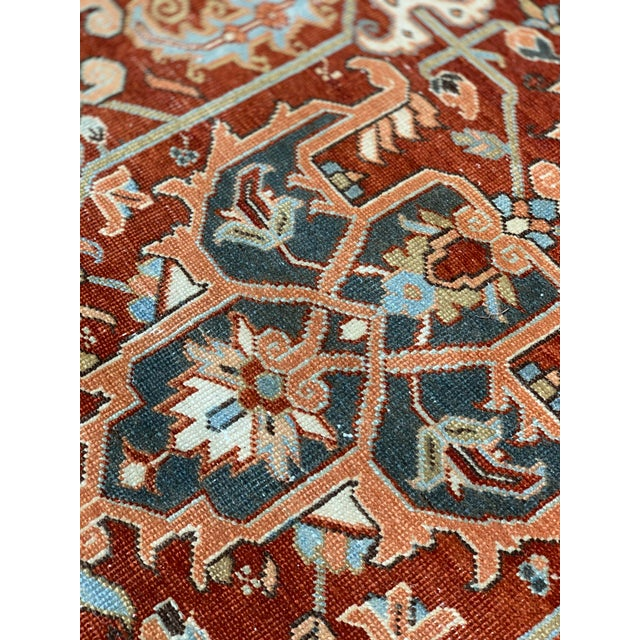 1920s Vintage Persian Heriz Area Rug - 9′5″ × 12′4″ For Sale - Image 10 of 13
