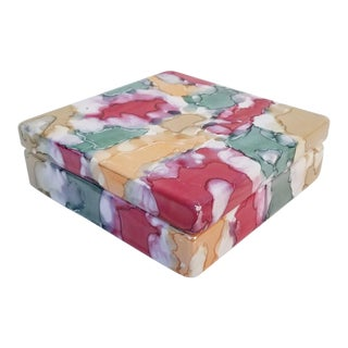 Italian Multicolored Ceramic Box For Sale