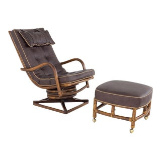 McGuire Style Mid Century Bamboo Reclining Swivel Lounge Chair and Ottoman For Sale