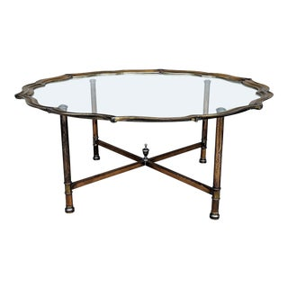 Asian Brass and Glass Cocktail Tray Table