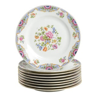 Vintage Victoria Czech Salad Plates - Set of 9 For Sale