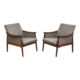 Danish Teak & Grey Lounge Chairs- a Pair For Sale