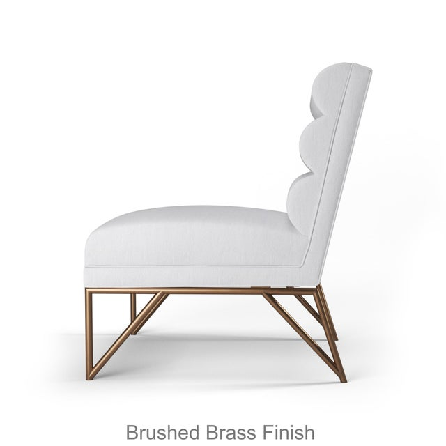 Paulo Slipper Chair - Brushed Brass Finish - Optic White Linen For Sale - Image 4 of 5