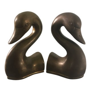 Vintage Brass Swan Head Bookends - a Pair For Sale