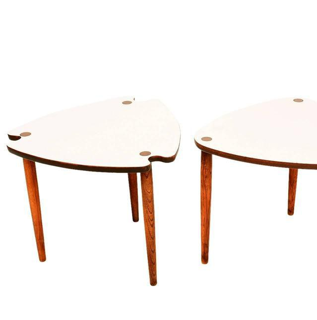 For Your Consideration Two Sets Of Two Nesting Triangular Tables. White  Formica Top With Removable